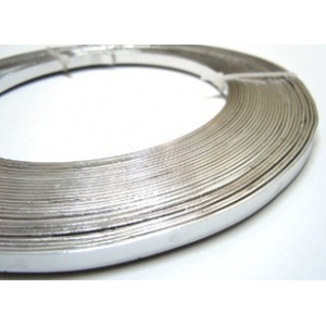 Flat Aluminium Wire 5mm - Silver Plated
