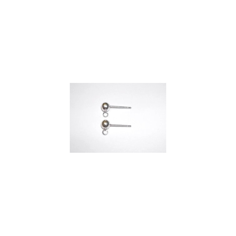 Silver 4mm Ball Earring With Ring