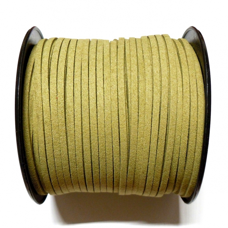 Imitation Flat Suede Cord 3mm - Olive Green 34