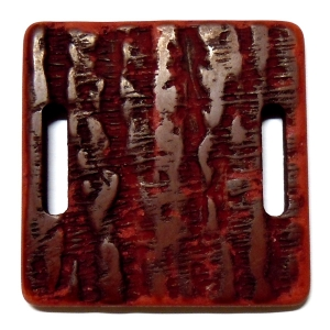 Methacrylate Square 40mm - 2 Oval Holes - Red
