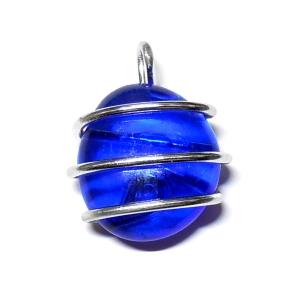 Colgante Cristal - Hilo Aluminio - Azul Oscuro