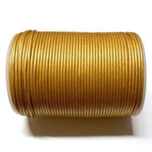 Cordon Cuero 2mm - Dorado 143