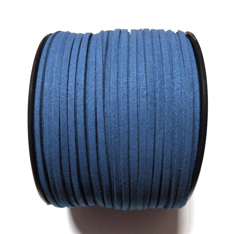 Imitation Flat Suede Cord 3mm - Blue 63