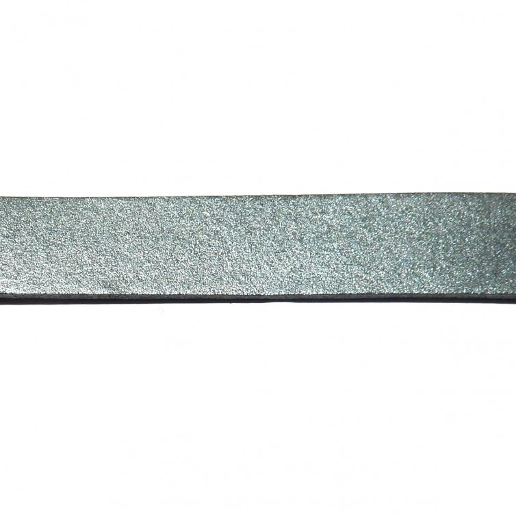 Cordon Cuero Plano 10mm - Gris Oscuro