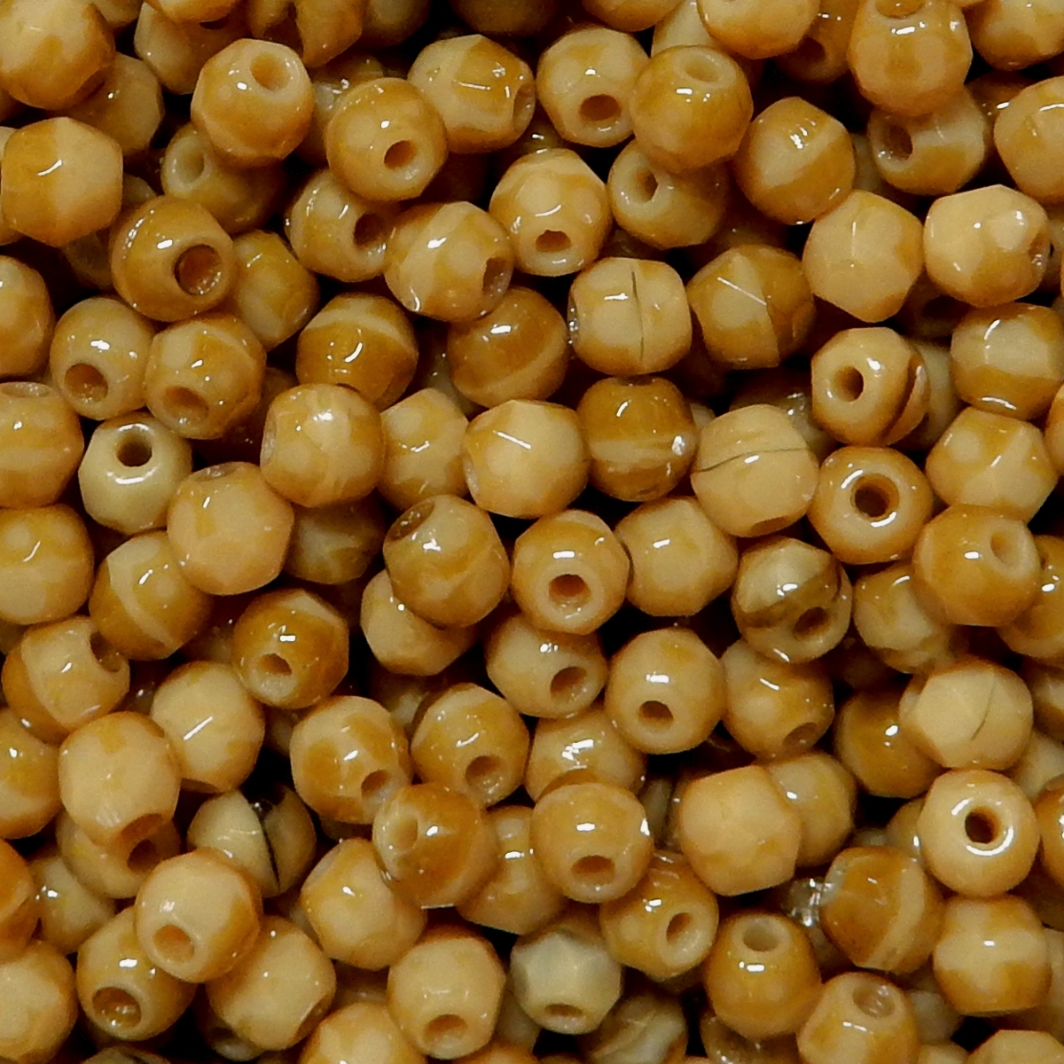 Faceted Glass Ball 4mm - Medium Speckled Brown