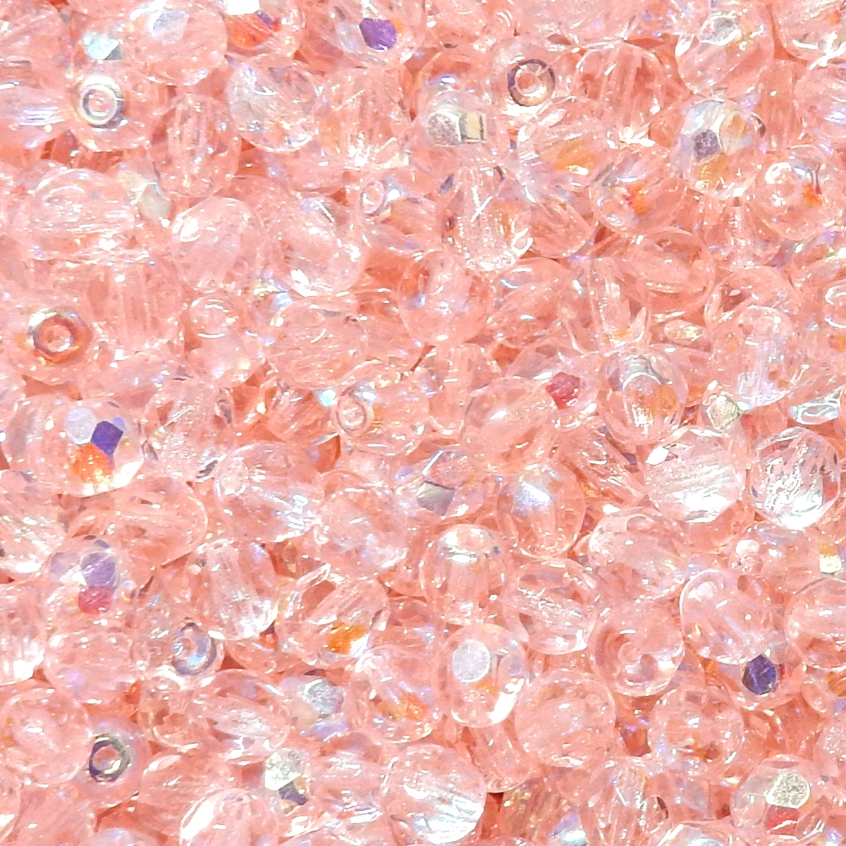 Faceted Glass Ball 4mm - Light Pink Transparent With AB