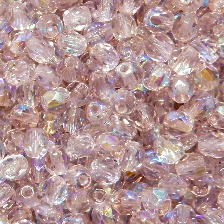 Faceted Glass Ball 4mm - Light Purple 2 Transparent With AB