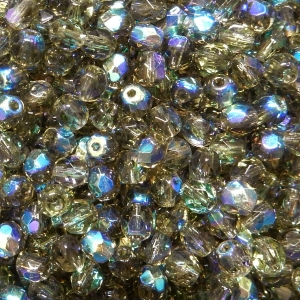 Faceted Glass Ball 4mm - Khaki Green Transparent With AB
