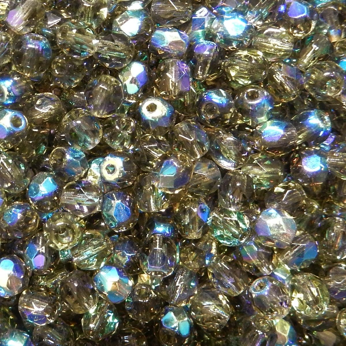 Bola Cristal Facetada 4mm - Verde Caqui Transparente Con AB