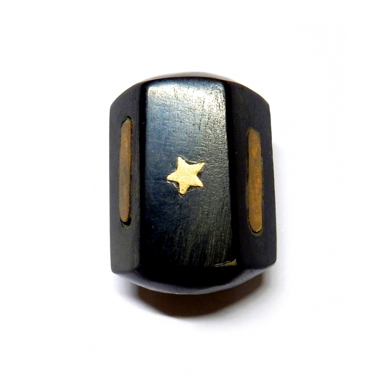 Horn Bead With Brass Inlays