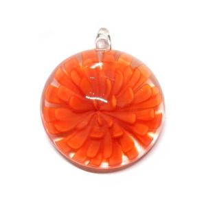 S-RF Colgante Cristal Redondo Con Flor Naranja Oscuro
