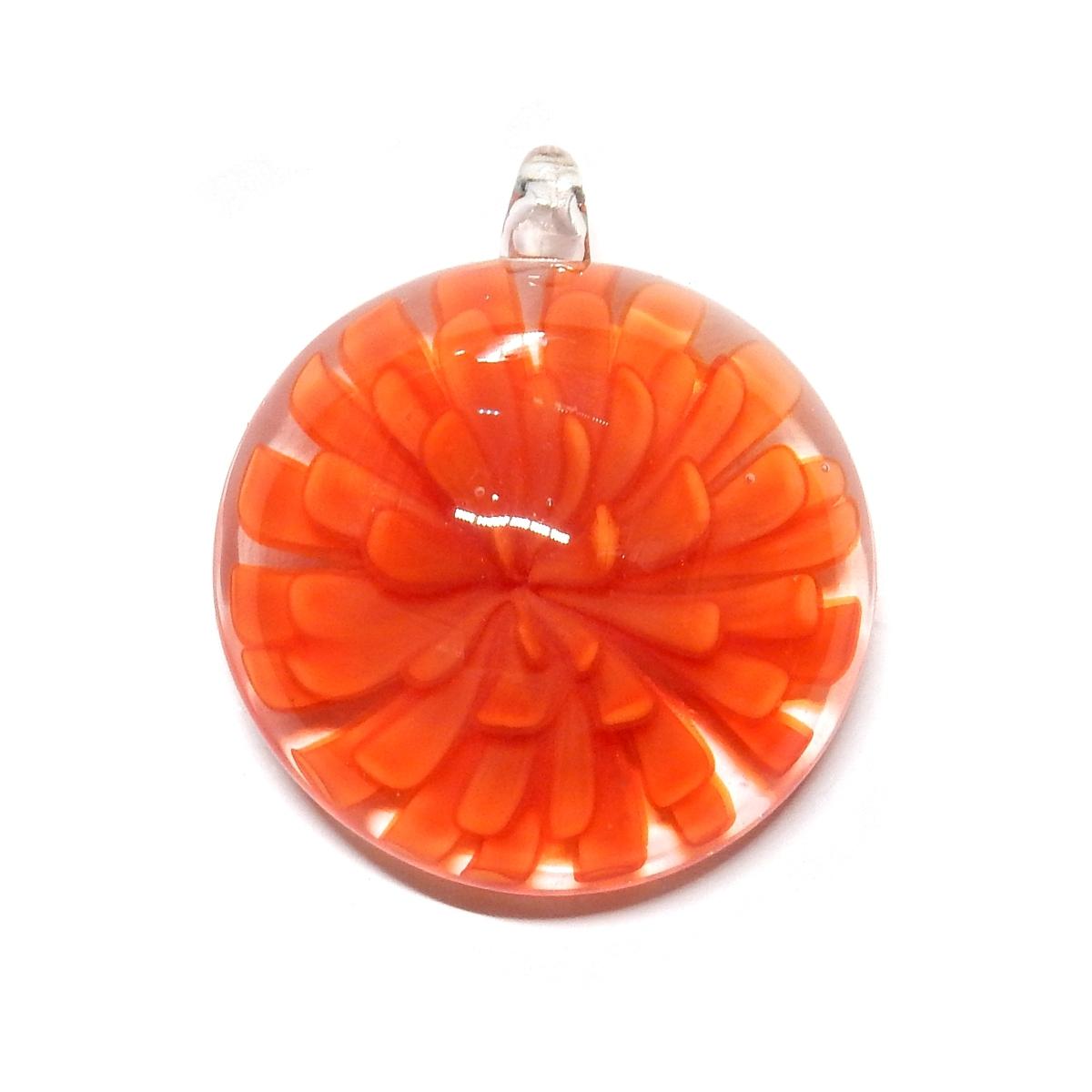 S/RF Glass Pendant With Dark Orange Flower