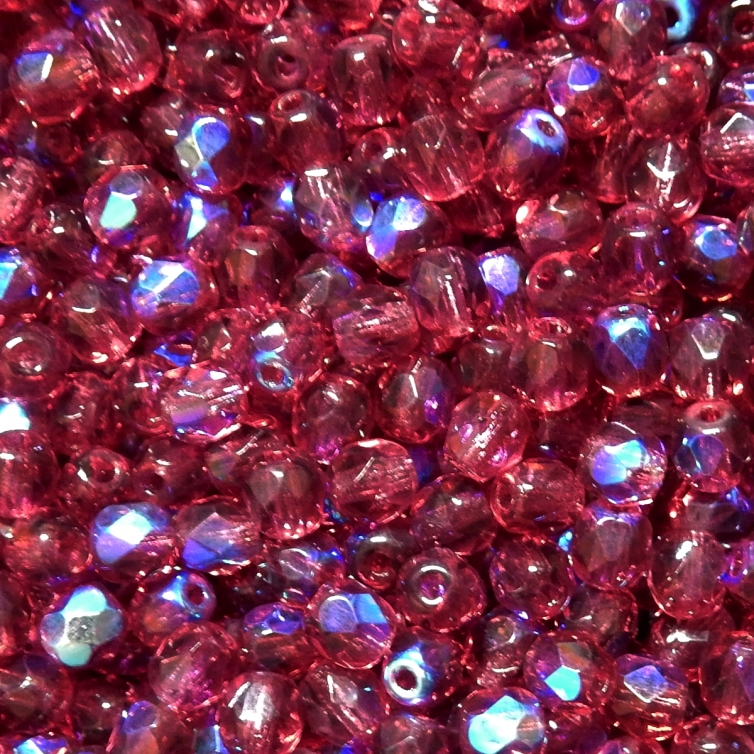 Faceted Glass Ball 4mm - Burgundy Transparent With AB