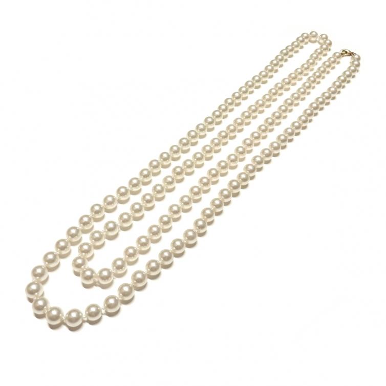 Collar Perla Cristal 8mm - Crema Claro