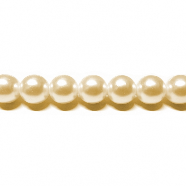 Perla Cristal Redonda 10mm - Color Crema