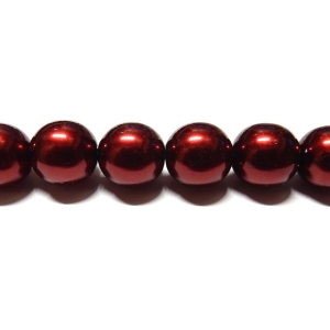 Round Glass Pearls 12mm - Garnet Colour