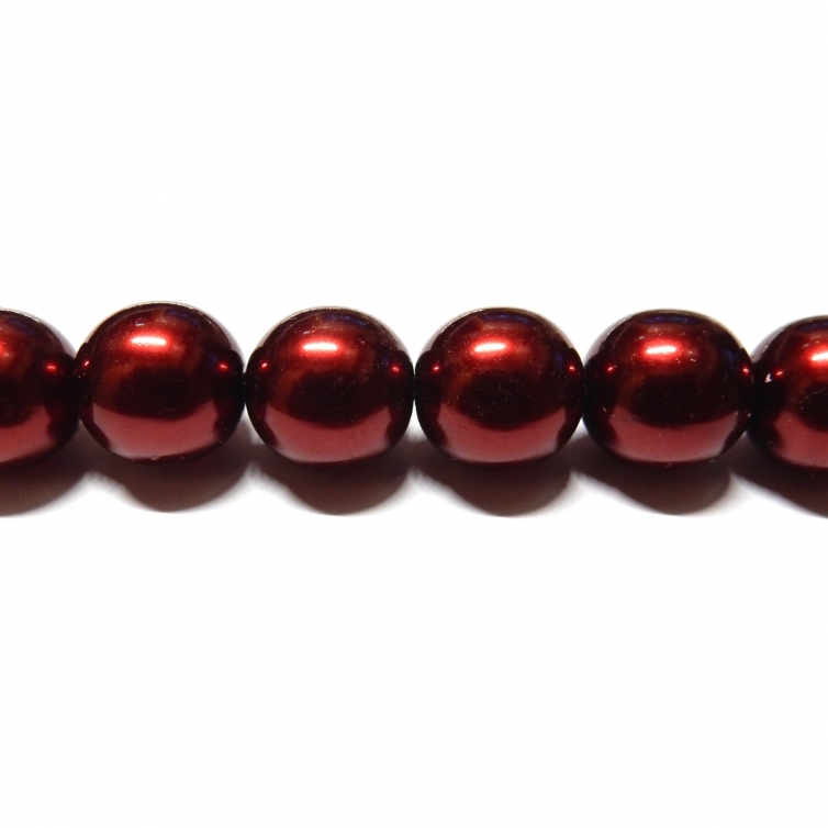 Round Glass Pearls 12mm - Garnet Colour