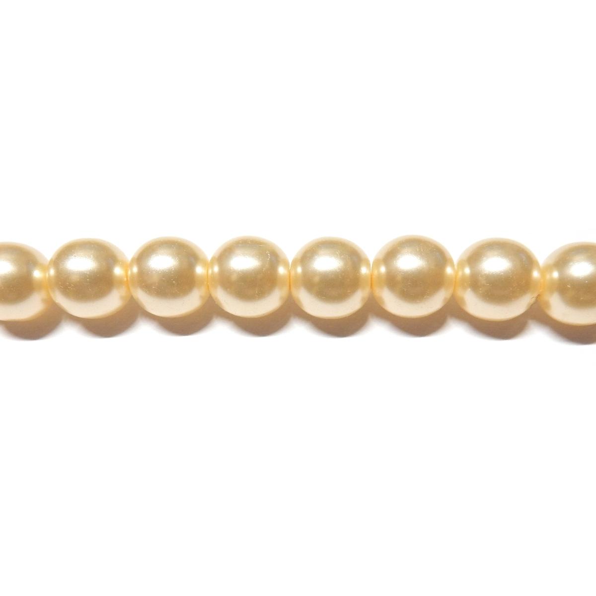 Round Glass Pearls 8mm - Cream Colour