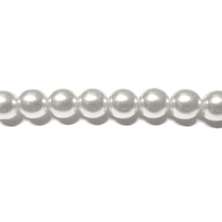 Round Glass Pearls 8mm - White Colour