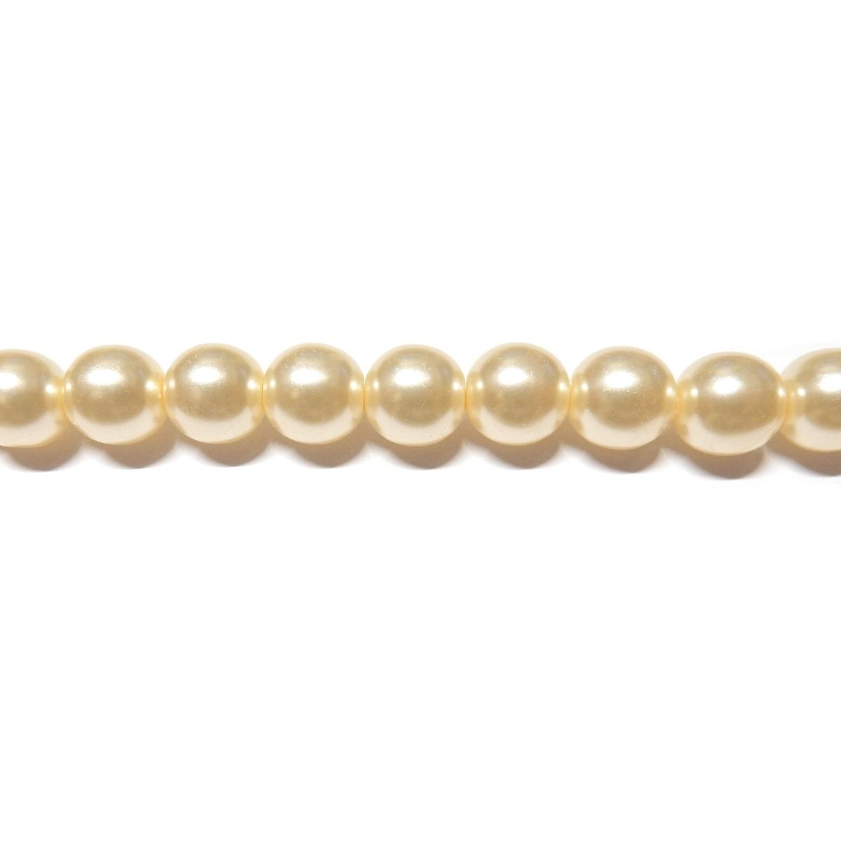 Round Glass Pearls 7mm - Cream Colour