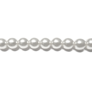 Round Glass Pearls 7mm - White Colour