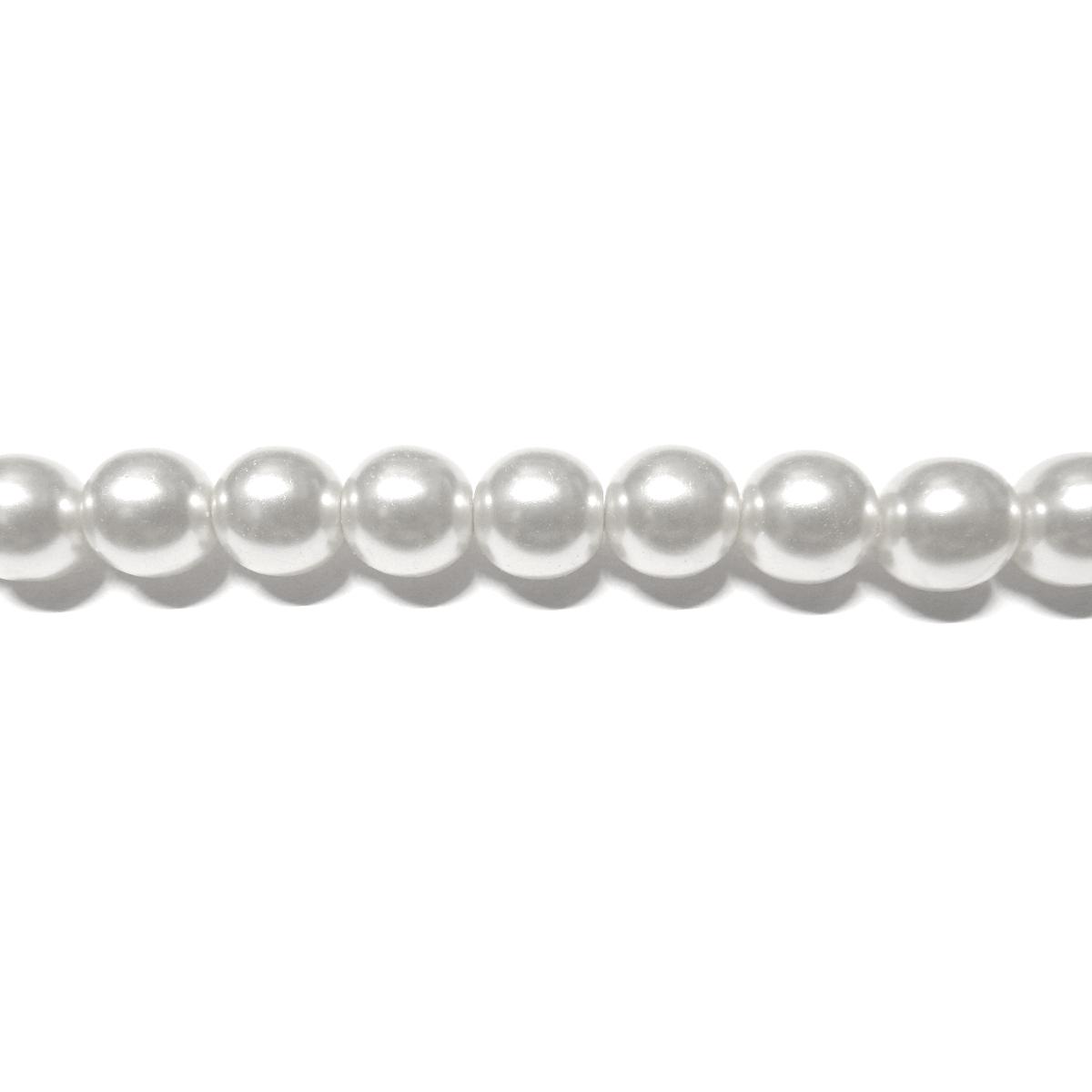 Perla Cristal Redonda 7mm - Color Blanco