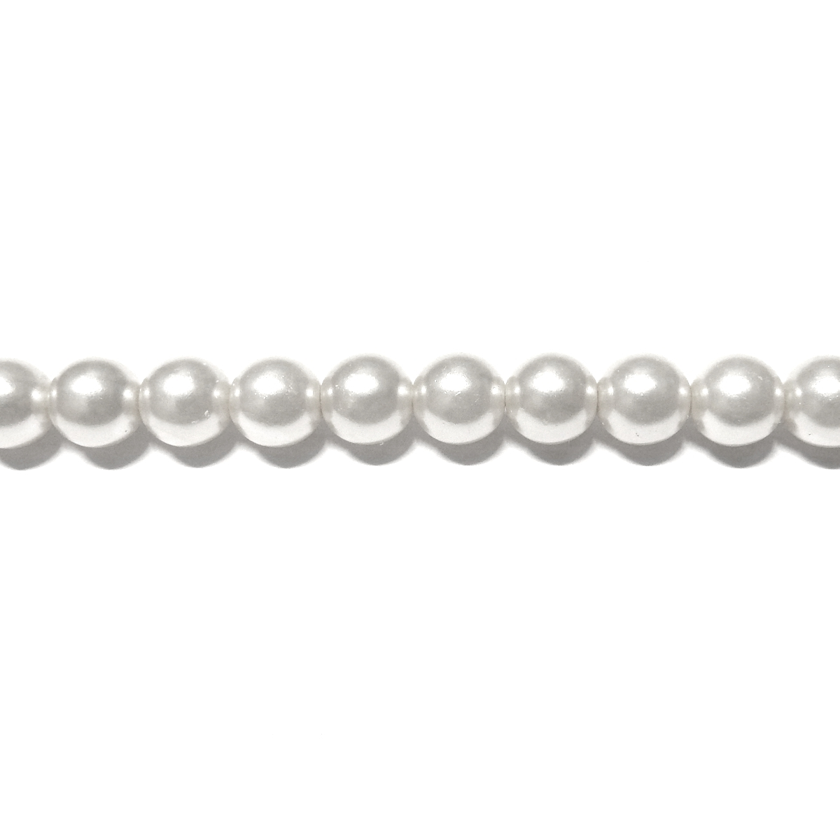 Round Glass Pearls 6mm - White Color