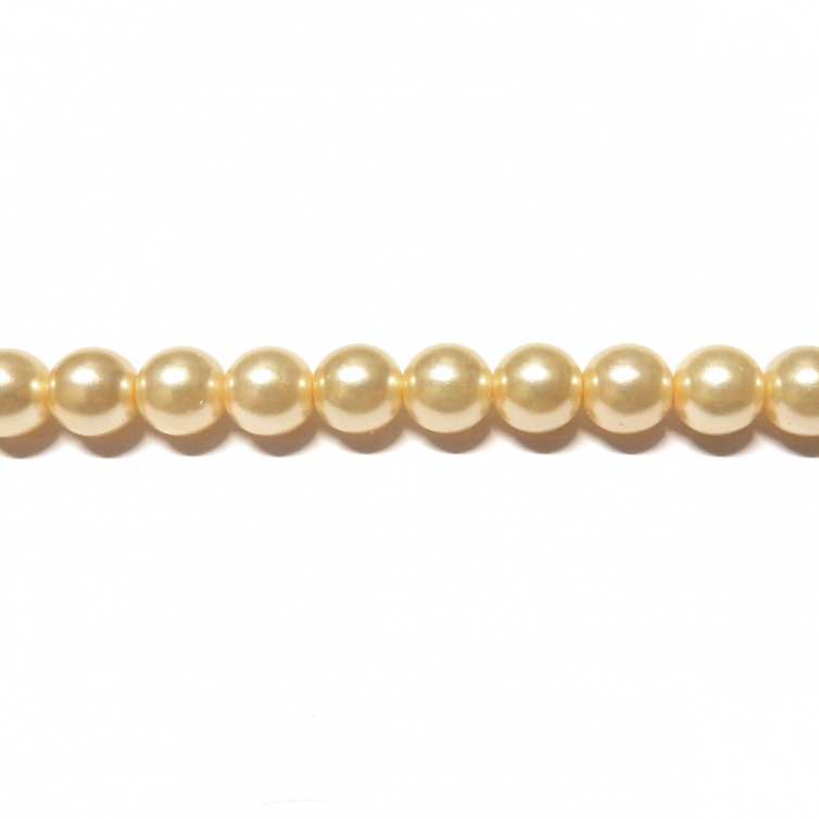 Round Glass Pearls 6mm - Cream Color