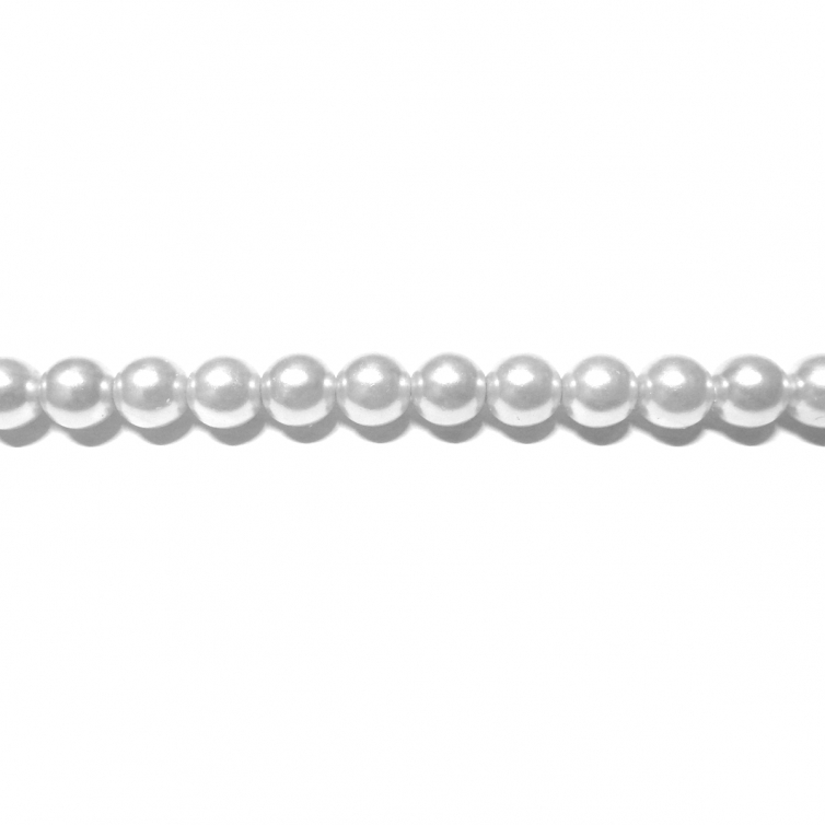 Round Glass Pearls 4mm - White Colour