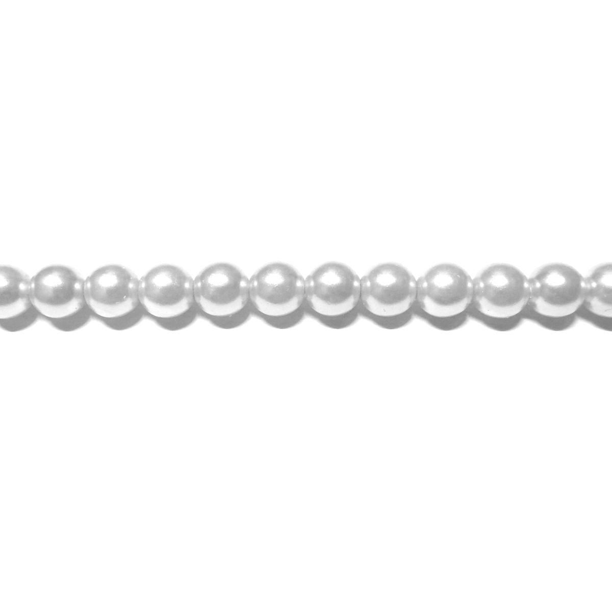 Perla Cristal Redonda 4mm - Color Blanco