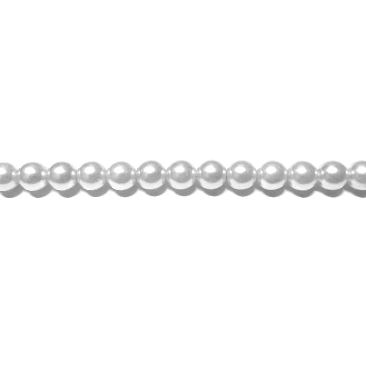 Round Glass Pearls 3mm - White Color