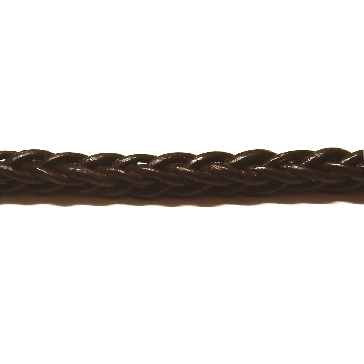 Square Braided Leather Cord 5mm - Dark Brown
