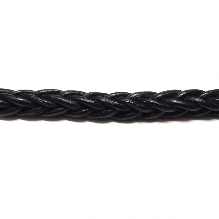 Cordon Cuero Trenzado Cuadrado 5mm - Negro