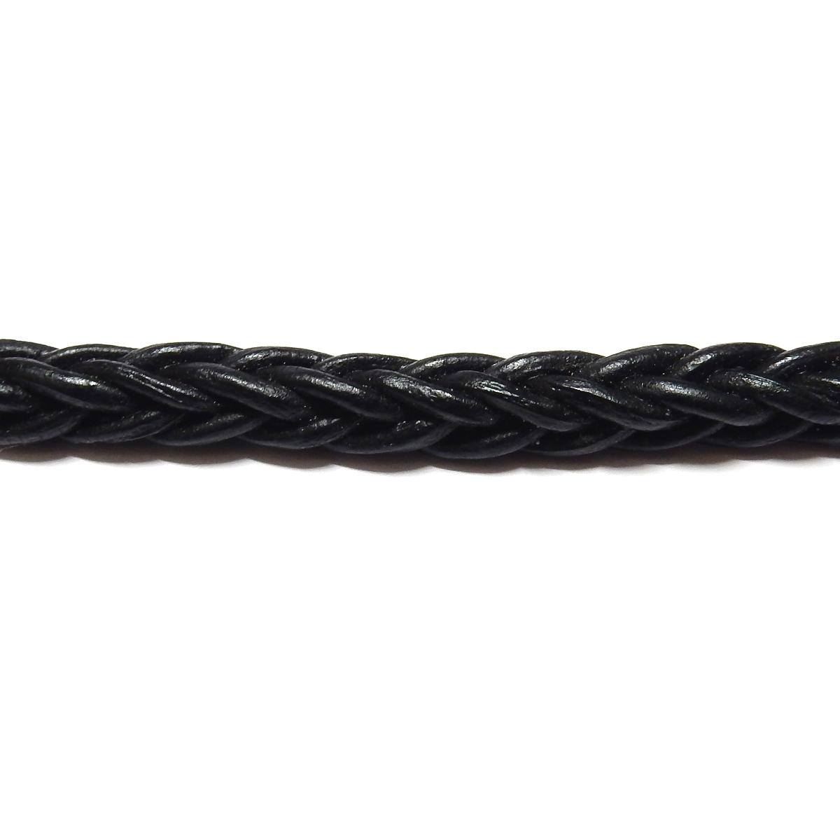 Square Braided Leather Cord 5mm - Black