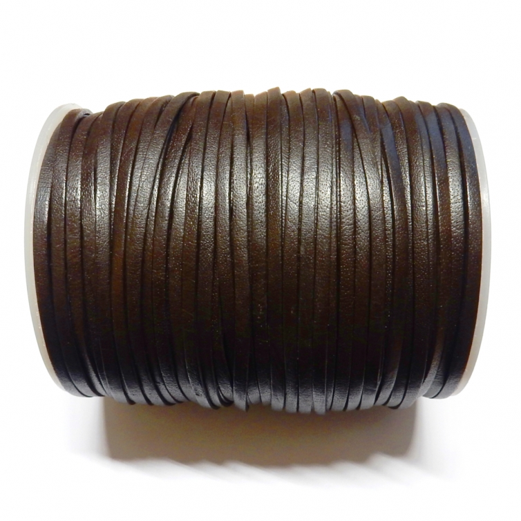 Flat Leather Cord 3mm - Dark Brown