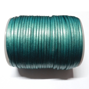 Flat Leather Cord 3mm - Metallic Turquoise