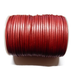Flat Leather Cord 3mm - Metallic Red
