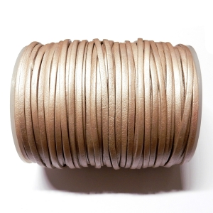 Flat Leather Cord 3mm - Pearled Colour