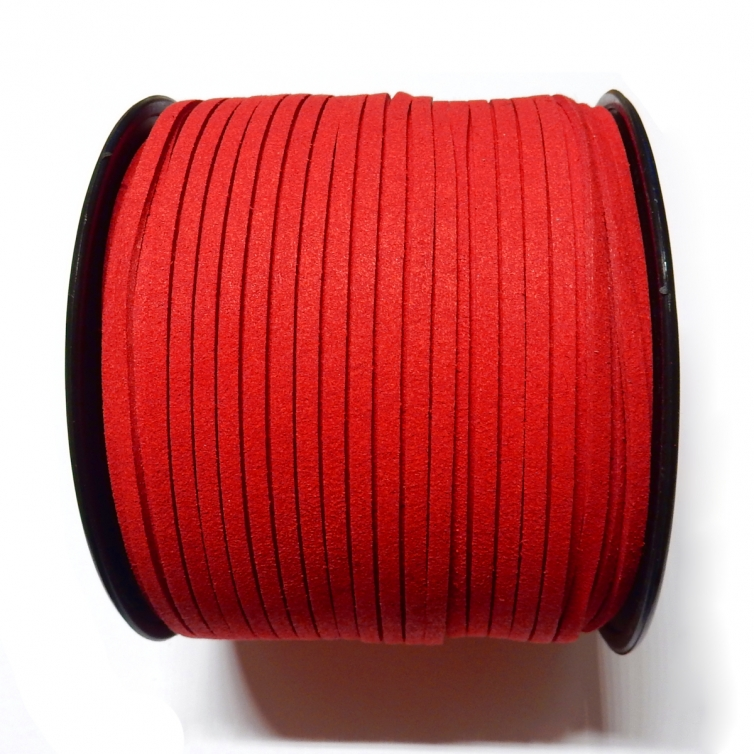 Imitation Flat Suede Cord 3mm - Red 68