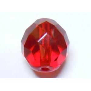 Bola Cristal Facetada 5mm - Rojo Transparente