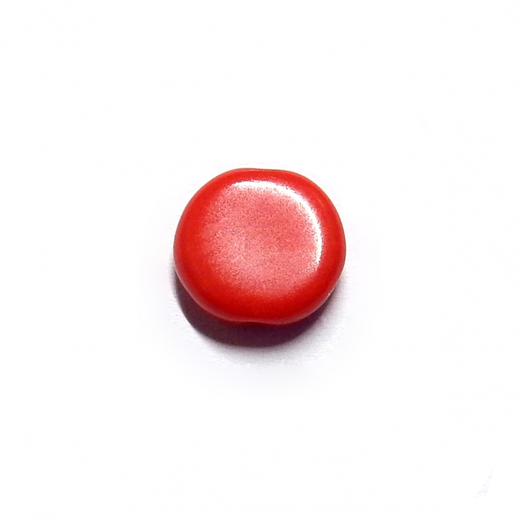 Glass Pill Shaped Bead 8x3mm - Opaque Red
