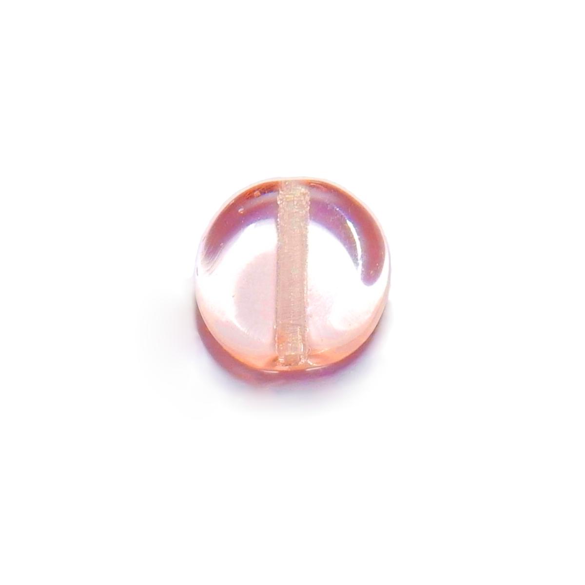 Glass Pill Shaped Bead 8x3mm - Transparent Light Pink