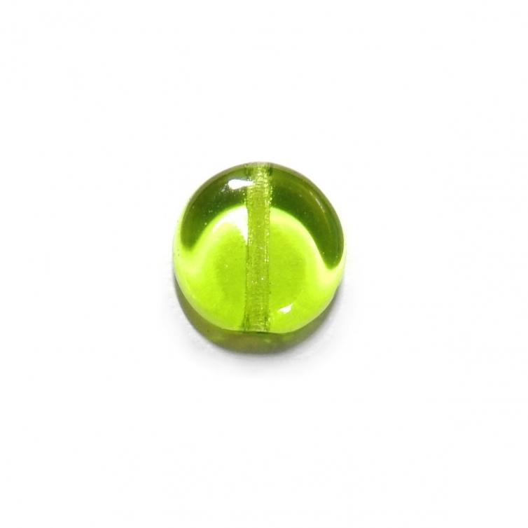 Glass Pill Shaped Bead 8x3mm - Transparent Medium Green