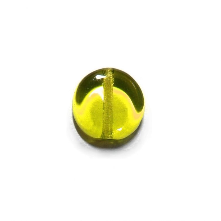 Glass Pill Shaped Bead 8x3mm - Transparent Olive Green