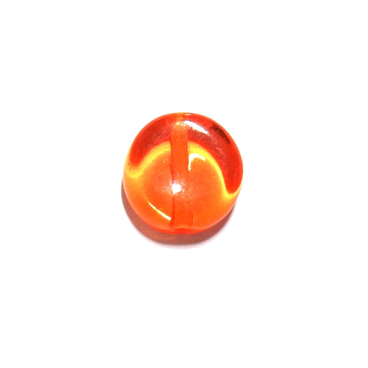 Glass Pill Shaped Bead 8x3mm - Transparent Orange