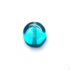 Glass Pill Shaped Bead 8x3mm - Transparent Turquoise