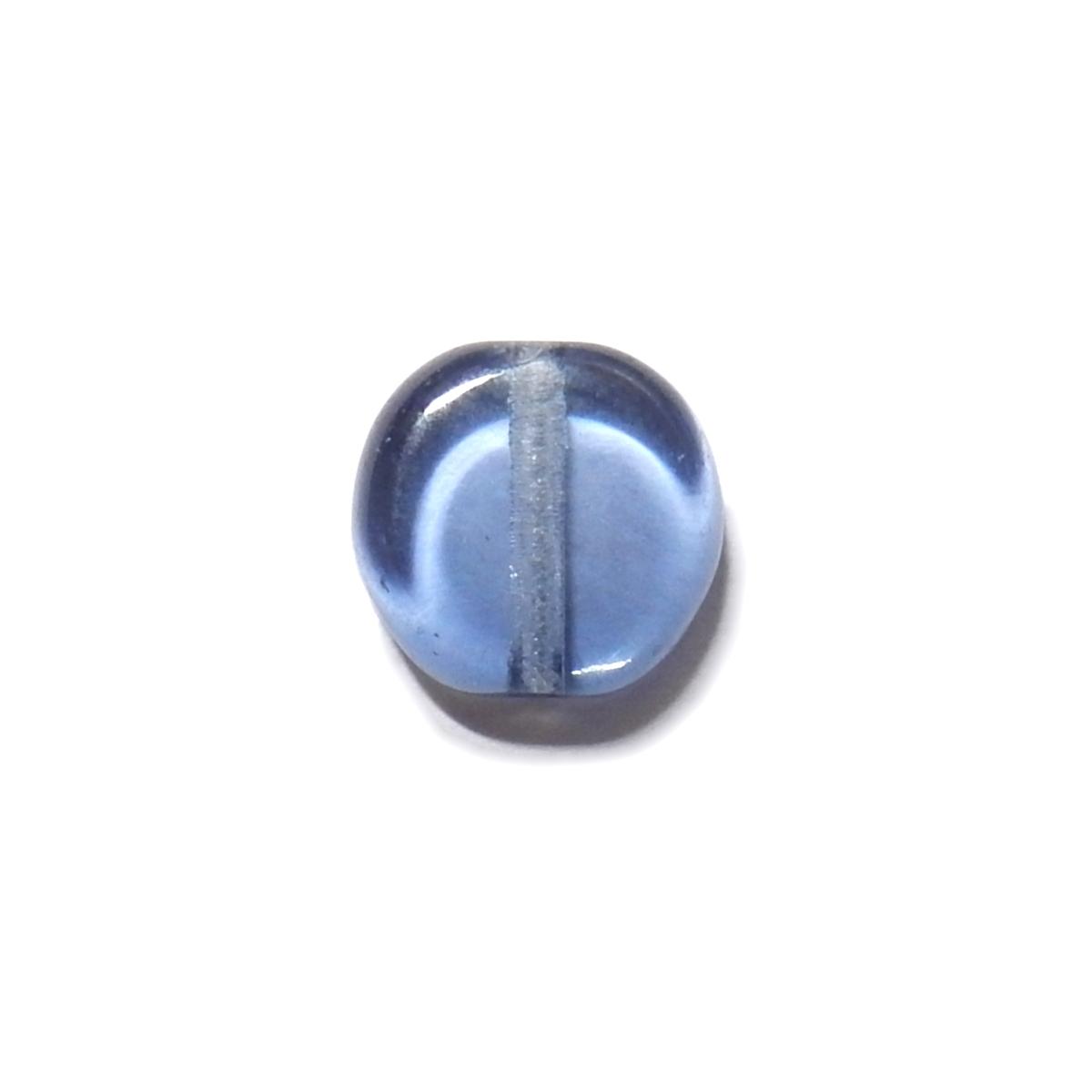 Glass Pill Shaped Bead 8x3mm - Transparent Jean Blue