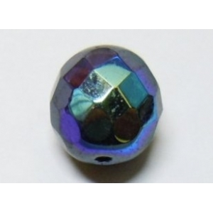 Faceted Glass Ball 7mm - Black AB