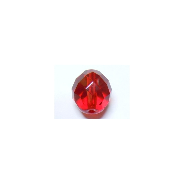 Faceted Glass Ball 8mm - Transparent Red