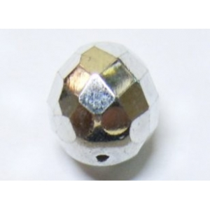 Faceted Glass Ball 10mm - Silver